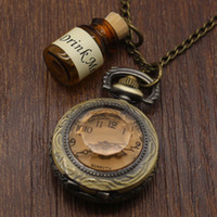 acrylic drinking glasses - Small Pocket Watch Alice in Wonderland Real Glass Drink Me Bottle Necklace Pendant Watch