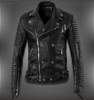Cheap Wholesale-2015 New Men'S Winter Jacket Lapel Machine Wagon Alloy Skull Oblique Zipper Short Jacket High Quality Casual Leather Jacket