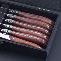 Wholesale New Promotion Laguiole style Stainless Steel Steak Knife w Rosewood Handle set Package in Wood Box IN Flatware Set
