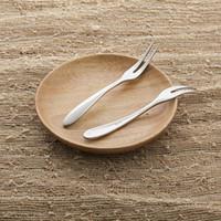 Wholesale Creative and stainless steel two teeth fruit fork Western dessert fork cake salad fork fork fruit sign