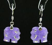 Silver Children's Sterling Silver pair 925 Silver Purple jade elephant Shape earring