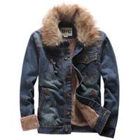 fur coat men - Men s winter thickening denim outerwear fur collar coat vintage denim down jacket male plus velvet top plus size XL
