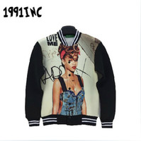 baseball posters - Amy iswag New d poster Rihanna printing autumn and winter Lovers space cotton jacket for men baseball uniform J10