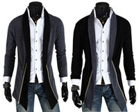 Wholesale High quality new casual men s trench coat fashion slim trench coat men men long design splicing coat