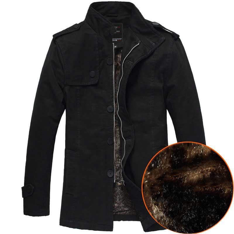 2017 Medium Long New Style Winter Jackets For Men Splice Wool ...