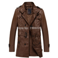 Wholesale 2015 Spring Autumn New Men s Leather Trench Coat Long Double Breasted Brand Sheepskin Fur Coat Jaqueta Couro Leather Jacket Men