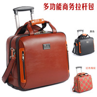 Wholesale NEW High quality luggage makbolo querysystem genuine leather travel bag mini computer trolley bag MALETAS