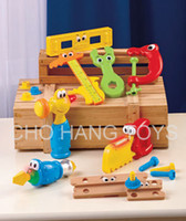 Wholesale Limited New Blue Yellow Unisex Children Set Tools Wooden Garden Toy Ferramentas Brinquedos pc Jumbo Tools Playset