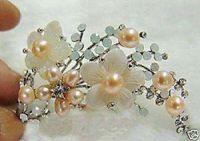 Wholesale Fine Tibet silver Pink Pearl amp Shell Flower Brooch