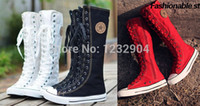 Wholesale Gothic PUNK Women Boots Men Shoes Women Sneaker Knee High Zip Laces Up Canvas Boots