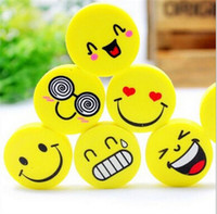 Wholesale x Lovely Cute I Love Smile Emoticon Style Rubber Pencil Eraser Students Stationery New school supplies kids Gifts