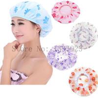 Wholesale New Women Lady Waterproof Elastic Shivering Shower Bathing Bouffant Hair Cap Caps Hat Colors Randomly