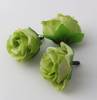 Wholesale Hot Artificial flowers Green Tea Rose Flower Head Artificial Flower Wedding Decorating Flowers MM