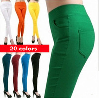 Wholesale S XL Plus Size New Women s Jeans Fashion Candy Color Skinny Pants With Pockets Cotton Trousers Fit Lady Jeans