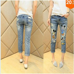 Wholesale Stylish Capris - Wholesale-2015 Stylish Fashion Cartoon Mickey Mouse Ripped Summer Cute Capris plus size designer jeans Trousers for Girls Ladies Women