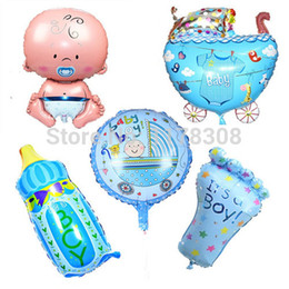 Wholesale P1303 New 5pcs Set Boys Baby Shower Decorations Foil Balloons Baby  Shower Helium Balls