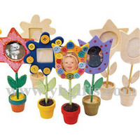 Cheap Wholesale-12PCS LOT.Paint unfinished wood photo frame,Kids picture frames,Home decoration.Wood toys,Art fun,Early educational toys,16.5cm