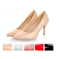 Wholesale Fashion Big Size Women Nude Color High Thin Heels Pumps Brand Slip on Pointed Toe Patent Leather Party Shoes fd1145