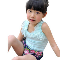 Wholesale Retail new summer Kids must wild stretch cotton lace vest girls vest A0046