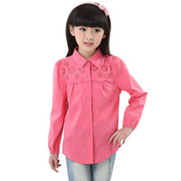 Wholesale New Years Girls Cotton Shirts Spring amp Autumn Children White amp Pink Long Sleeve Blouse Brand Kids Brief Tops