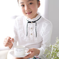 basic school uniforms - NEW fansion spring girls lace Bottoming Shirts cotton basic long sleeve white blouse School uniforms joker
