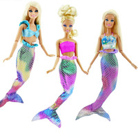 Wholesale 3 Set Colourful Handmade Mermaid Dolls dress Party Dress Gown Skirt Fashion Clothes For Barbie doll fantasy clothes Baby Toy