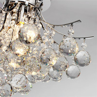 Wholesale Chrome Finish Crystal Chandelier with lights Crystal Flush Mount Lights for Living Room Bedroom Dining Room Study Room