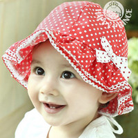 Wholesale Kids Toddler Baby Girls Cotton Bow knot Polka Dots Sun Hat Bucket Hat M Y