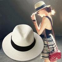 tea party hats - summer floppy straw panama beach hats for women tea party vogue classic black girdle jazz sun hat chapeu feminino sombrero mujer