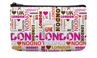 bag patchwork pattern - Sweet Pink Fashion Love London repeat Typography Pattern Print Customized Small Cosmetic Bag Wristlet hand bag