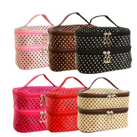 Wholesale Hot Trendy Women s Girls Lady Polka Storage Makeup Beauty Cosmetic Bag Case Organizer Holder Handbag
