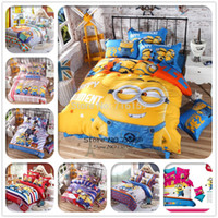 Wholesale cotton Bedding set cartoon Printing Minions bedclothes Baby children kids bed linen king queen twin full duvet cover set