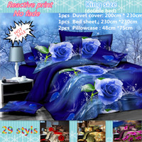 Cheap Wholesale-2015 hot 3D bedding set king size bed linen include duvet cover bed sheet pillow cases reactive printing