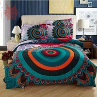 Wholesale Free ship multi color National Wind print cotton tribute silk duvet cover Bed sheet Pillowcase set Home textile SP1750