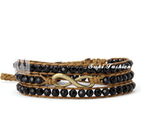 Wholesale Infinity Bracelet Faceted Agate with Infiniti Charm Wrap Bracelet Friendship Bracelet