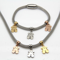 Wholesale New Arrival Famous Brand Bear Jewelry Sets K Gold Rose Gold Silver Stainless Steel Necklaces And Bracelets For Women