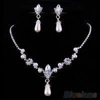 Wholesale Bridal Wedding Faux Pearls Rhinestone Necklace Water Drop Earrings Jewelry Set D2U