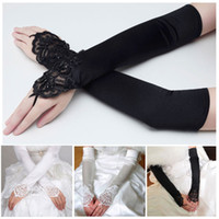 Wholesale quot Fingerless Long Bridal Glove Wedding Gloves Satin Lace Beaded Dress Accessories Vestido De Noiva Luvas De Noiva Sale