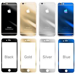 Iphone vidrio de alta calidad en Línea-Protector de pantalla al por mayor de alta calidad 9H Dureza Front + Back Espejo Efecto vidrio templado para el iPhone 6 6 Plus / 5s paquete al por menor