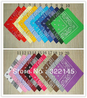 bandanas dozen - HOT SALE COTTON Dozen Bandanas Mixed Colors Paisley Bandanas double sided head wrap scarf wristband
