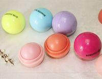 Cheap Wholesale-New Round Ball Style Smooth Moisturizing Fruit Flavor Organic Natural Lip Balm Makeup Lip Care Lipstick