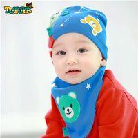 beanie babies bears lot - new fashion cartoon animal bear baby bibs scarf hat baby beanie cap for babies kids boys girls clothes bib wear