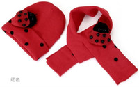 baby snow bibs - Freeshipping Fashion Cute Cool Baby hat scarf set Children Winter Wool Snow Knit Beetle Cap Scarf Bib Christmas gifts sets