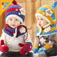 beekeeping gloves - Special Offer Time limited Character Children Novelty Beekeeping Hat And Scarf Child Hat Scarf Gloves Piece Set Baby Winter