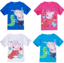 Wholesale Pink Pig Boys Girls T Shirts Summer Style Pepa Children Clothing Baby Kids Short Sleeve Tops Kid Constume Colth