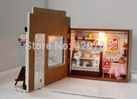 Wholesale Dollhouse Miniature DIY Kit Cake Love Bakery Bread Store Shop Model Light NIB for christmas gift Valentine s Day gift