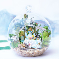 Wholesale B011 DIY dollhouse miniature glass ball miniatures wooden doll house voice led lights free shhipping Alice forest tea