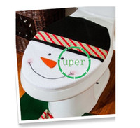 acrylic tissue - Hot Sell Happy Xmas Santa Toilet Seat Cover Set amp Tissue Box And Rug Bathroom Set Christmas Decorations SV011780