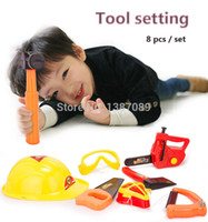 plastic kids garden tool set - A set of gardening tool plastic toys modeling Tools set electric saw kids hammer helmet axe mask glasses