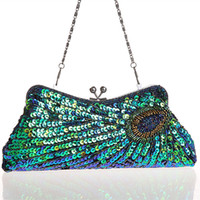 Wholesale Vintage Women s Clutches Chain Evening Bags Peacock Pattern Sequins Beaded Bridal Clutch Purse luxury mini handbag party